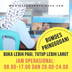 Jam Buka BUMDes Pringgodani Desa Wonopringgo