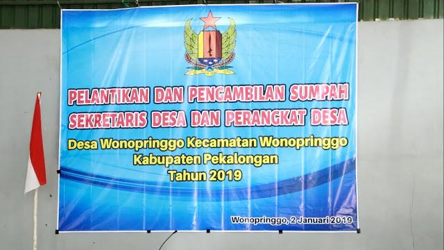 Pelantikan Sekretaris dan Perangkat Desa Wonopringgo